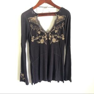 NWT Free People Embroidered Bird Bead Boho Top S